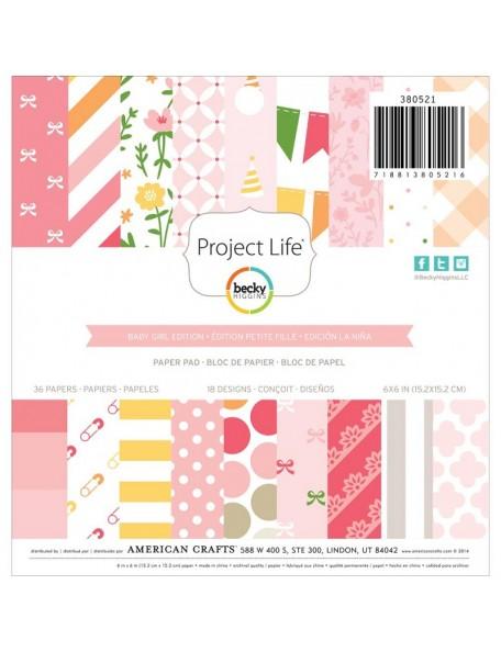 """American Crafts - Baby Girl Project Life Paper Pad 6""""X6"""" 36 Hojas de una cara"""