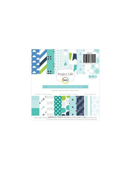 """American Crafts - Baby Boy Project Life Paper Pad 6""""X6"""" 36 Hojas de un cara"""