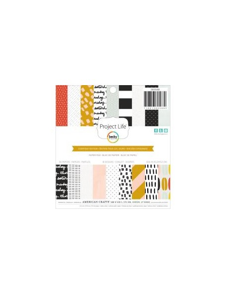 "American Crafts - Everyday Project Life Paper Pad 6""X6"" 36 Hojas de doble cara"