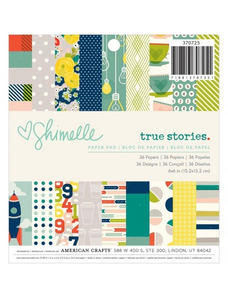 "American Crafts - Shimelle True Stories Paper Pad 6""X6"" 36 Hojas de una cara"
