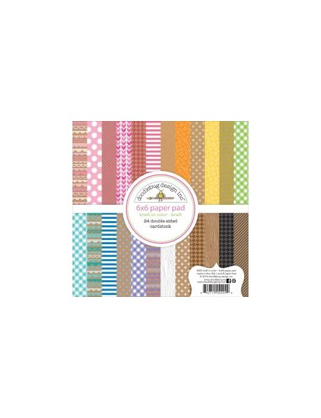 "Doodlebug - Kraft In Color Paper Pad 6""X6"" 24 Hojas Kraft de doble cara"