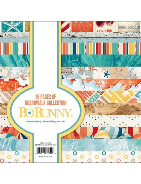 """BoBunny - Boardwalk Paper Pad 6""""X6"""" 36 Hojas de una cara"""