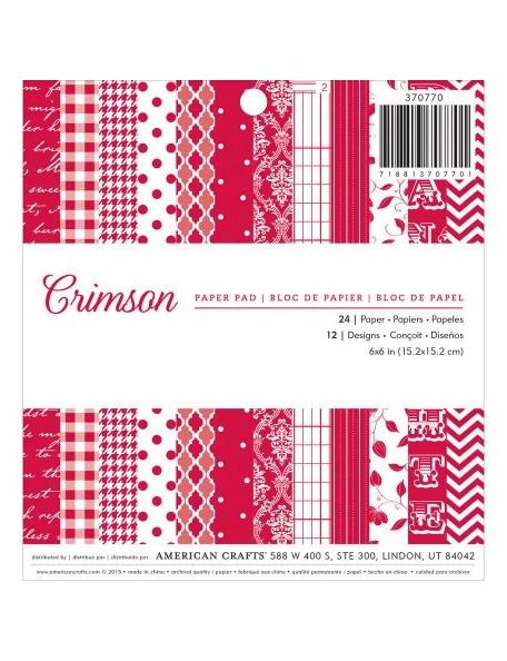 """American Crafts - Crimson Paper Pad 6""""X6"""" 24 Crimson Hojas de una cara"""