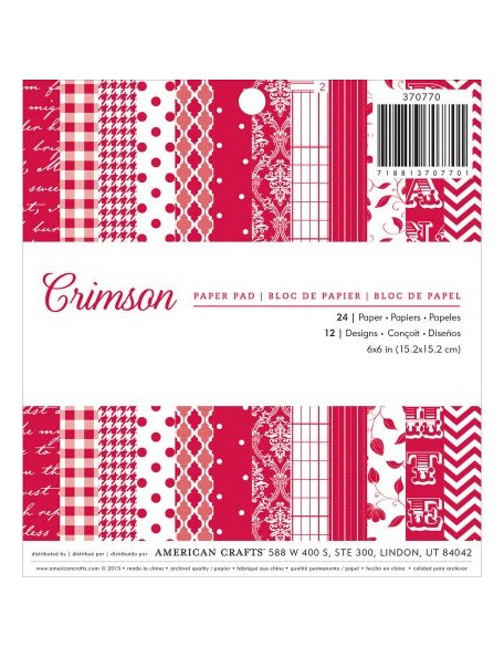 "American Crafts Single-Sided Paper Pad 6""X6"" 24, Crimson, 12 Designs/2 Each"