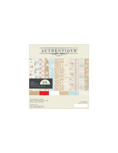 "Authentique - Cozy Bundle Cardstock de doble cara Pad 6""X6"" 24"