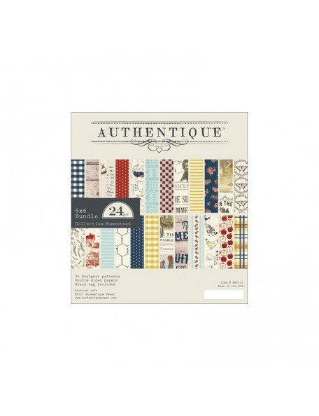 "Authentique - Homestead Cardstock de doble cara Pad 6""X6"" 24"