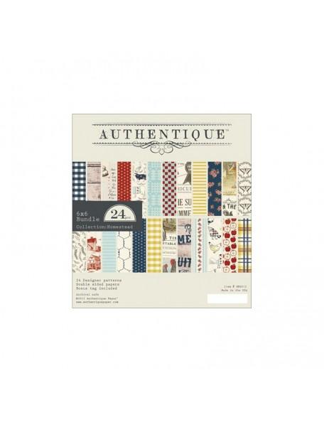 """Authentique Cardstock de doble cara Pad 6""""X6"""" 24, Homestead, 12 diseños/2 de cada"""