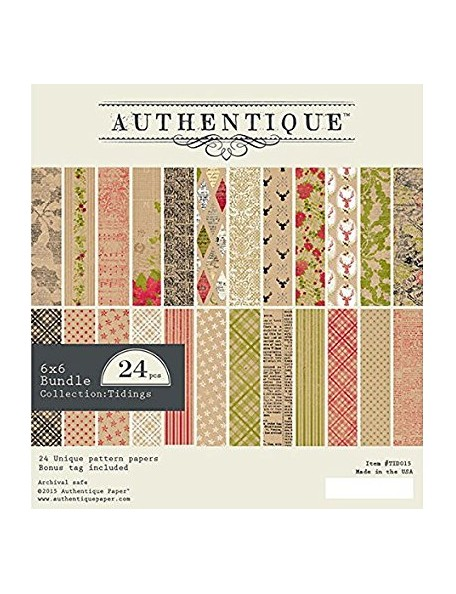 "Authentique - Tidings Cardstock de doble cara Pad 6""X6"" 24"