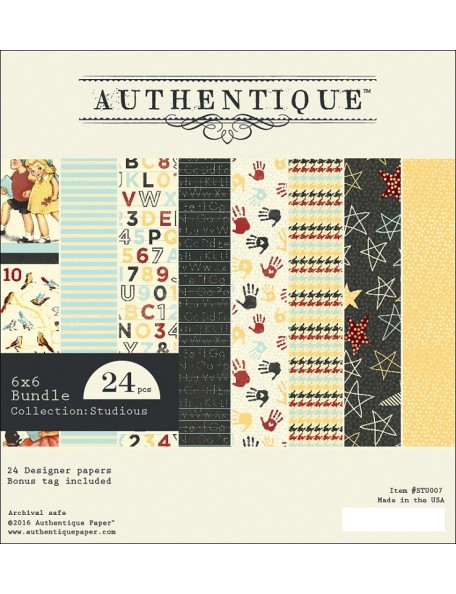 "Authentique Double-Sided Cardstock Pad 6""X6"" 2, Studious One, 12 Designs/2 Each"