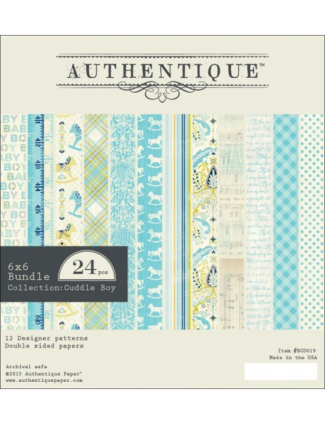 "Authentique Cuddle Boy Cardstock Hojas de doble cara Pad 6""X6"" 24"