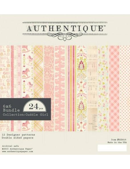 """Authentique Cuddle Girl Cardstock de doble cara Pad 6""""X6"""" 24,12 Hojas/2 de cada"""