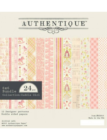 "Authentique Cuddle Girl Cardstock de doble cara Pad 6""X6"" 24,12 Hojas/2"