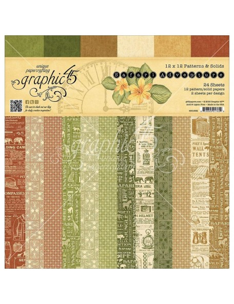 "Graphic 45 Safari Adventure Paper Pad Cardstock de doble cara12""X12"" 24"