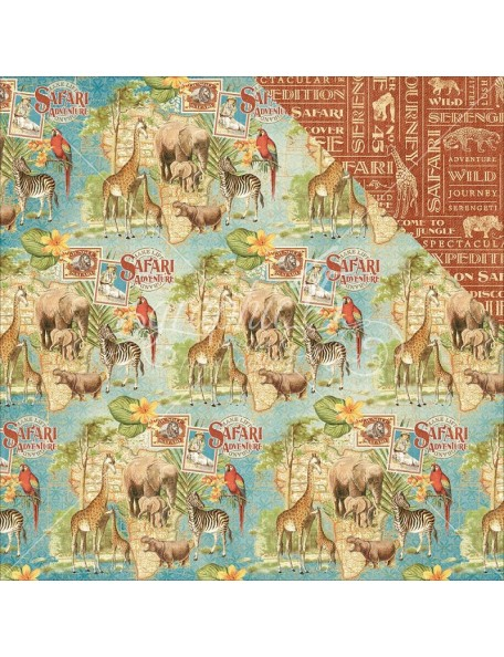 "Graphic 45 - Safari Adventure Cardstock de doble cara 12""X12"" Creatures Great & Small"