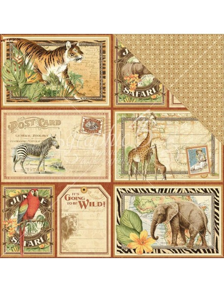 "Graphic 45 - Safari Adventure Cardstock de doble cara 12""X12"" Jungle Expedition"