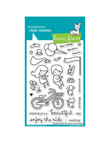 "Lawn Fawn Clear Stamps 4""X6"", Bicycle Built For You"