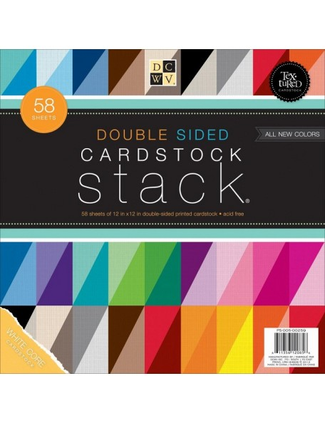 "DCWV Cardstock Stack Hoja de doble cara 12""X12"" 58, Textured White Core"