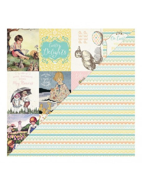 """Authentique Eastertime Cardstock de doble cara 12""""X12"""" Cut-Apart Cards/Lace Stripe"""
