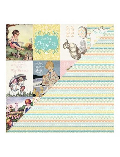 Authentique Eastertime Six, Cut-Apart Cards/Lace Stripe