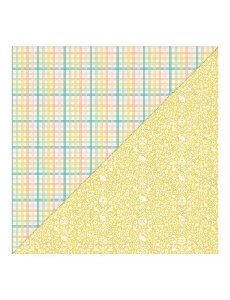 "Authentique - Eastertime Cardstock de doble cara 12""X12"" Multi Check Plaid/Yellow Damask"