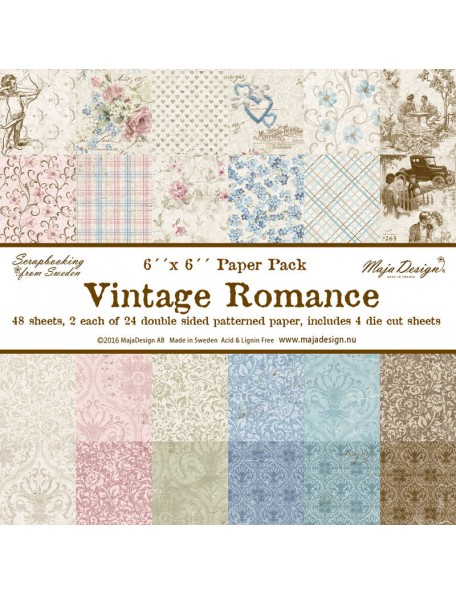 "Maja Design - Vintage Romance Paper Stack de doble cara 6""X6"""