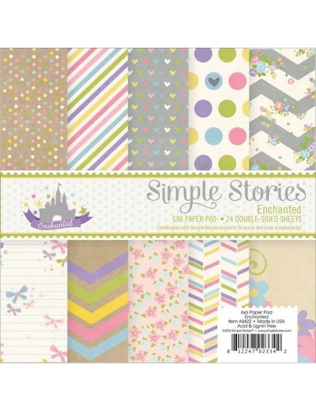 "Simple Stories - Enchanted Paper Pad 6""X6"" 24 Hojas de doble cara"
