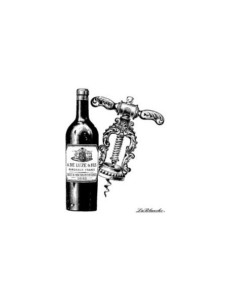 "LaBlanche - Corkscrew And Wine Sello de Silicona 2""X3"""