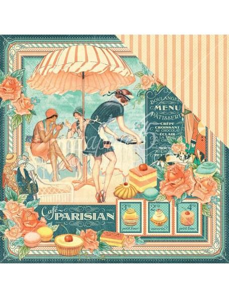 "Graphic 45 Cafe Parisian Cardstock de doble cara 12""X12"", Cafe Parisian"