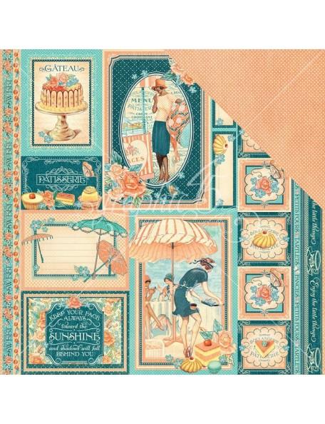 """Graphic 45 Cafe Parisian Cardstock de doble cara 12""""X12"""", Creme de la Creme"""