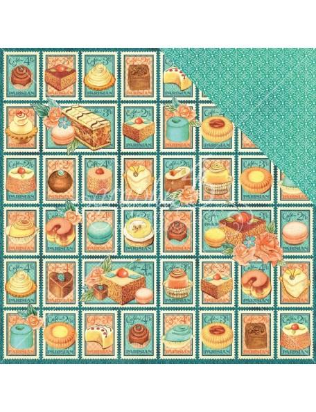 "Graphic 45 Cafe Parisian Cardstock de doble cara 12""X12"", Postage Patisserie"
