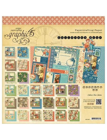 """Graphic 45 Children's Hour Paper Pad de doble cara 12""""X12"""" 24"""