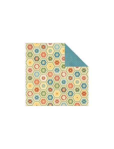 "Graphic 45 Home Sweet Home Cardstock de doble cara 12""X12"" Grannys Quilt"