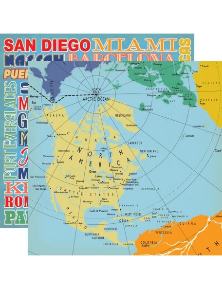 "Carta Bella Let's Cruise Cardstock de doble cara 12""X12"" World Map"