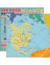"""Carta Bella Let's Cruise Cardstock de doble cara 12""""X12"""" World Map"""