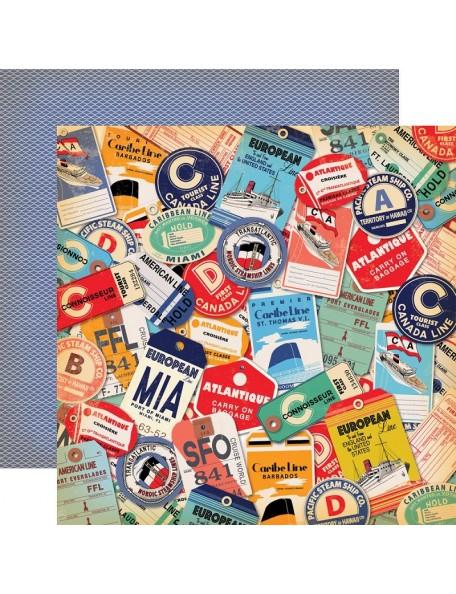 "Carta Bella Let's Cruise Cardstock de doble cara 12""X12"" Destination Tags"