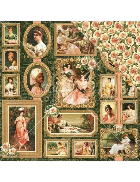 """Graphic 45 Portrait Of A Lady Cardstock de doble cara 12""""X12"""", Elizabeth"""