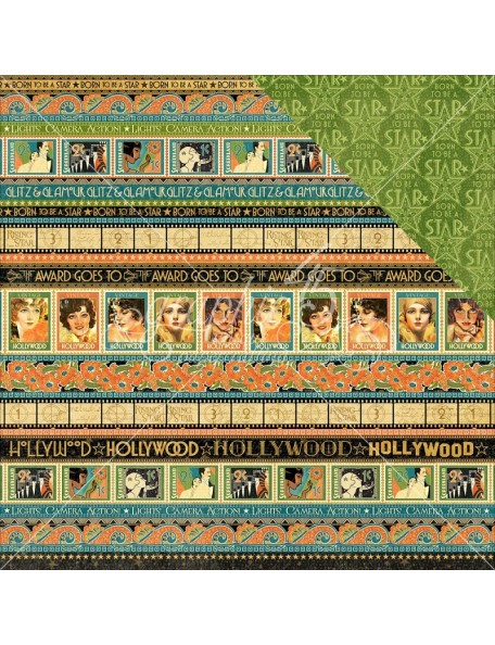 """Graphic 45 Vintage Hollywood Cardstock de doble cara 12""""X12"""" Glitz and Glamour"""