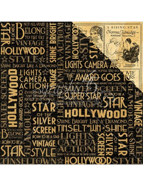 "Graphic 45 - Vintage Hollywood Cardstock de doble cara 12""X12"" Silver Screen"
