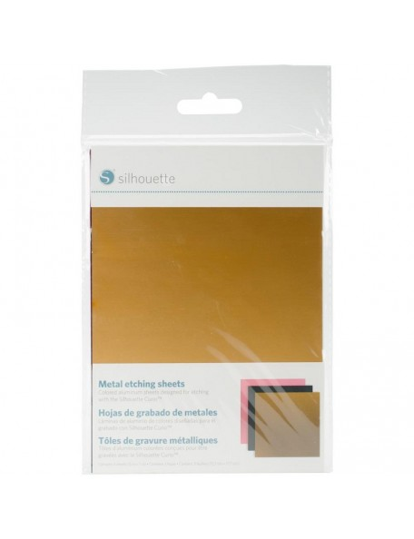 "Silhouette Curio Metal Etching Sheets 5""X7"" 3 Negro, Oro y Rosa"