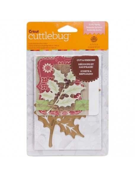 Cuttlebug A2 Cut & Emboss Holly Sprig Troquel