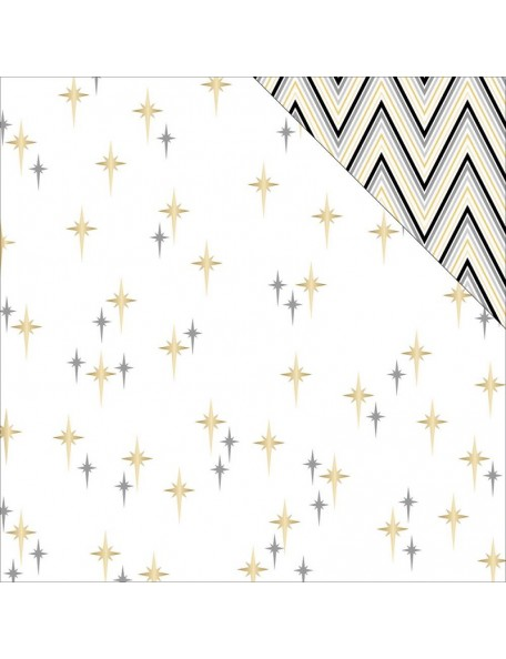 "Teressa Collins - Glam Factor Cardstock de doble cara 12""X12"" Seeing Stars (gold Foil)"