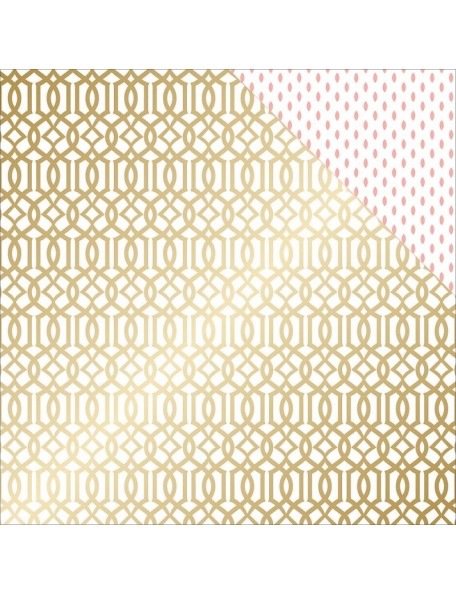 "Teressa Collins - Project Pink Cardstock de doble cara 12""X12"" Lattice (gold Foil)"