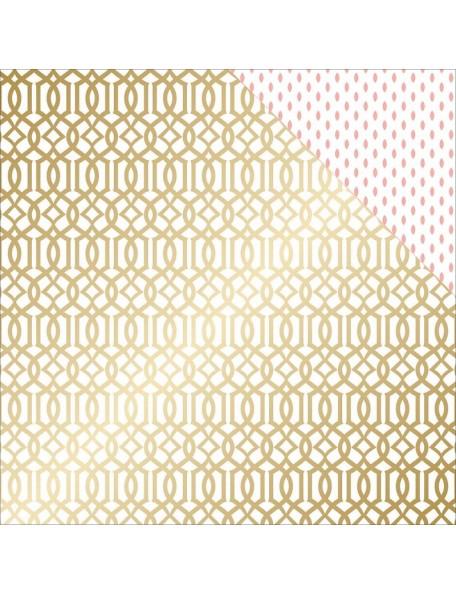 "Teressa Collins - Project Pink Cardstock de doble cara 12""X12"" Lattice (gold Foil)"