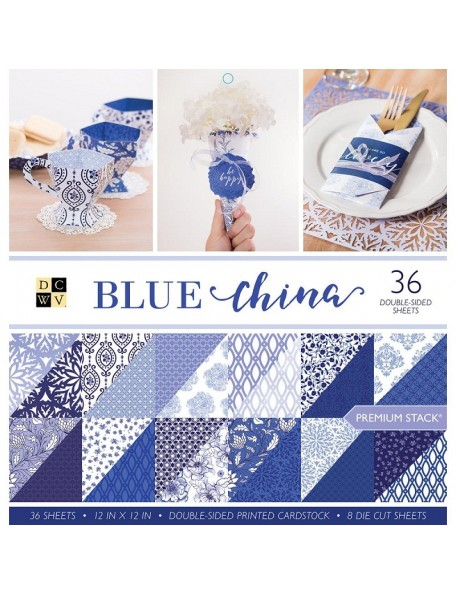 "DCWV Cardstock Stack Hoja de doble cara 12""X12"" 36, 12 Dibujos/3, Blue China"