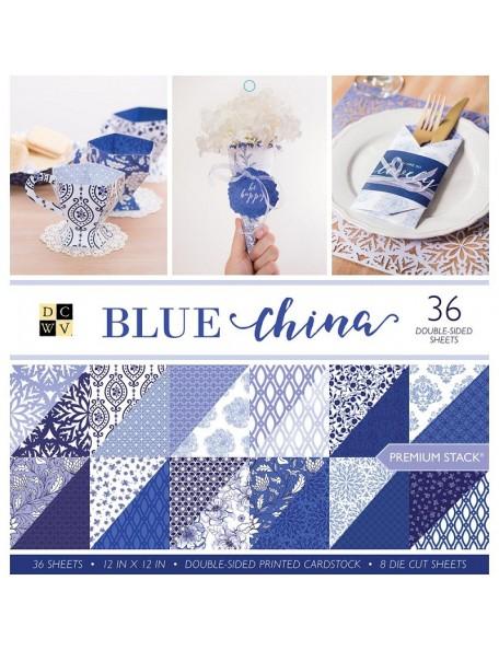 """DCWV Cardstock Stack Hoja de doble cara 12""""X12"""" 36, 12 Dibujos/3, Blue China"""