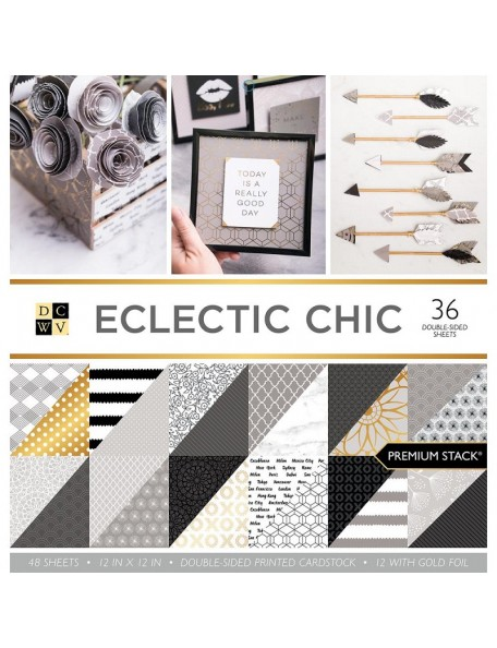 "DCWV Cardstock Stack 12""X12"" 36 Eclectic Chic, Hojas de doble cara"