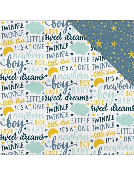 "Carta Bella Rock-A-Bye Baby Boy Cardstock de doble cara 12""X12"", Sweet Dreams"
