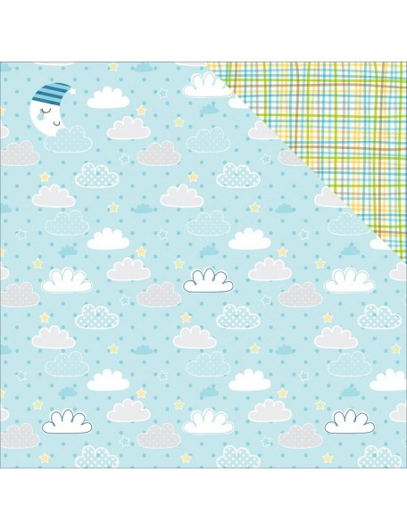 "Bella BLVD Cute Baby Boy Cardstock de doble cara 12""X12"" Barely A Wink"