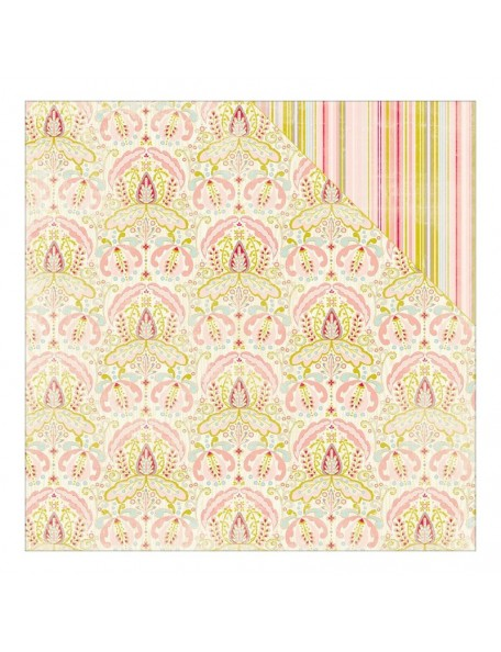 "Authentique Cuddle Girl Cardstock de doble cara 12""X12"" , no.3 Intricate Damask/Thin Vertical Stripe"