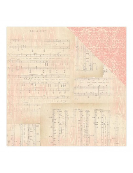 "Authentique Cuddle Girl Cardstock de doble cara 12""X12"" , no.4 Lullabye Sheet Music/Pink Flourish"